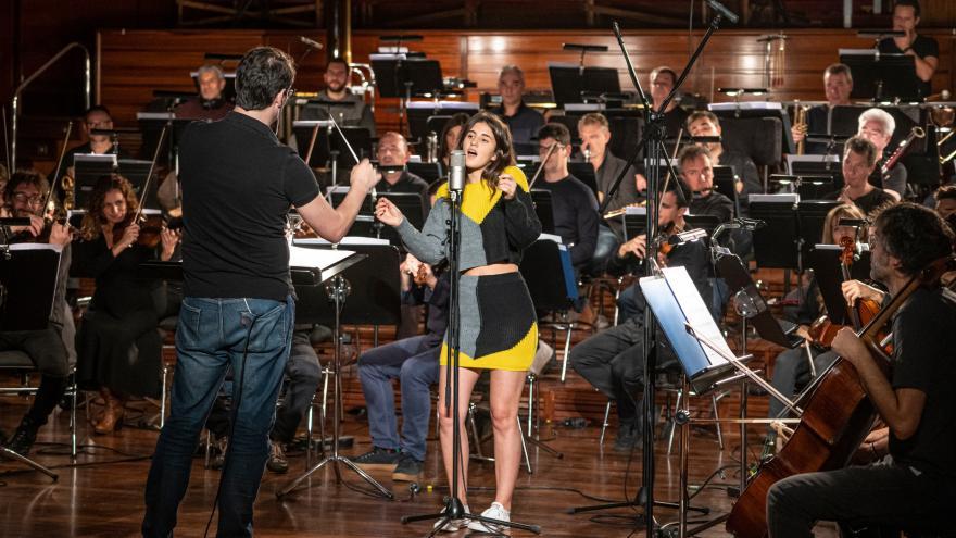 Izaro, Euskadiko Orkestra y Fernando Velázquez en la grabación que tuvo lugar en noviembre del 2019 en Miramon.
